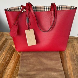 Red Burberry Tote Bag
